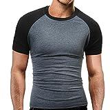 Herren T-Shirt, Männer aus FüR Sport Sommermode Oansatz Pullover Herren Kurzarm T Shirt,Perforiert und FeuchtigkeitsabfüHrend in 3 Farben M L XL XXL (Dunkelgrau, XL)