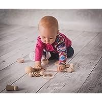 Cesto de los Tesoros Montessori, Panera dels Tresors. 14 piezas de madera 100 % natural para bebés