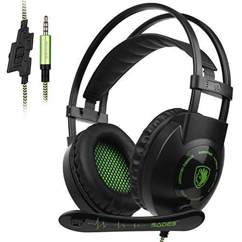 Kopfhörer Gamer,SADES SA801 Xbox One PS4 Gaming Headset 3.5mm Klinke mit versenkbarem Mikrofon für PC Laptop Mobiltelefon
