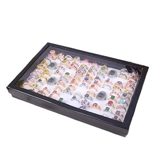 Tonsee Schmuck Ringe Display Tablett samt 100 Slot das Fall Schmuck Aufbewahrungs box (weiß)
