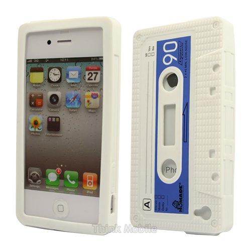 Apple iPhone 6 TPU Gel Case - Blau Apple iPhone 6 Tasche Flip Case Leder Cover Schutz Hülle Etui Schale - thinkmobile Silikon Audiokassette Weiss