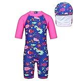 MSemis Traje de Baño Bañador Neopreno con Gorro Niños Niñas Unisexo Monoshort Infantil 2-7 Años Protección Solar Swimwear Azul 3-4Años