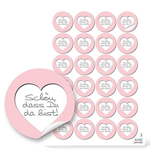 48 runde Aufkleber rosa rose weiß grau Herz SCHÖN DASS DU DA BIST 4 cm Sticker Etiketten für Hochzeit Taufe Kommunion Geburtstag Gastgeschenke give-away Deko Mitgebsel Feste Geschenke Verpackung