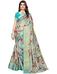 Akhilam Women's Printed Linen Saree with Unstitched Blouse Piece (Green_BGBLT80001)