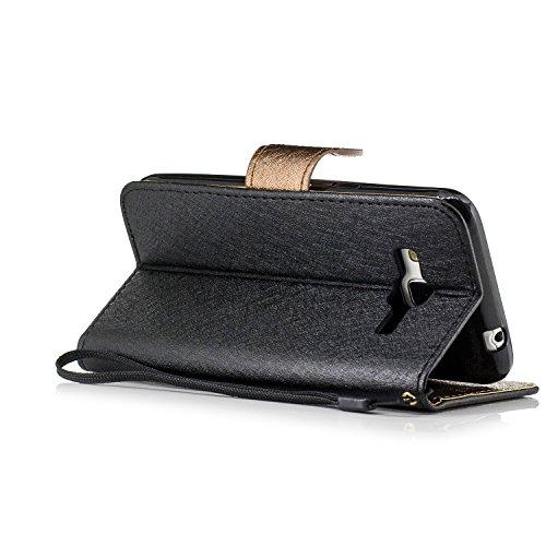 Custodia iPhone 6 6S,Cozy Hut Cover in Pelle,[Carta Fessura] [Flip Stand] [Folio Libro] [Wallet] [Chiusura Magnetica] [Pellicole Protettive] per iPhone 6 6S Custodia, Pelle. Protettiva case / cover Ul nero