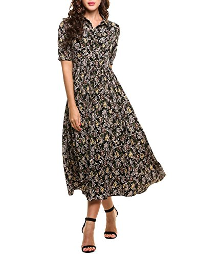 Burlady Women's Vintage Style Peter Pan Collar Short Sleeve Floral Print Long Maxi Dress