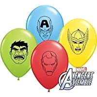 "Marvels Avengers Assemble Faces Assortment 5"" Qualatex Latex Balloons x 10"