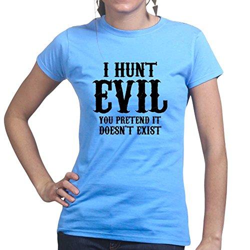 I Hunt Evil (Police Military, Ranger, Special Forces) Ladies T shirt (Police Kostüme Womens Shirt)