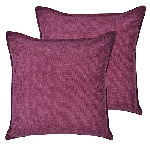 Cartoonpur 2 Piece Cotton Cushion Covers - 22 Inch x 22 Inch, Velvet Plain Dark maroon