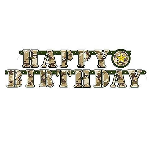 Unique Party - 48538 - Banderole d'Anniversaire - Happy Birthday - Camouflage Militaire - 1,6 m