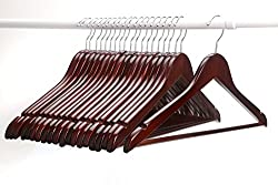 AADYA High Grade Solid Wooden Suit Hangers/Wooden Men Hangers, Wood Clothes Hangers with Chrome Hooks-(Set of 50PCS)
