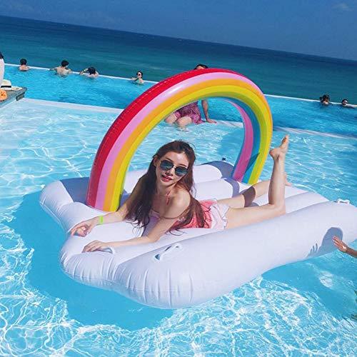 AMhuui Aufblasbare Float-Wasser-Floß, Sommer-Outdoor-Pool-Party-Spielzeug tragbare Pool Float Regenbogen Wolken schwimmende große Floating Island