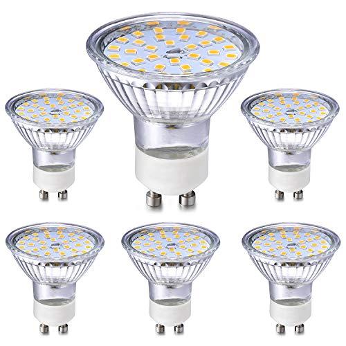 Eco.Luma GU10 LED Drei Dimmbarkeitstufen per Schalter Leuchtmittel/Lampe Glas Warmweiss, 5W Ersatz 35W 50W Halogen, 2800K 420LM Reflektor, 6er Pack -