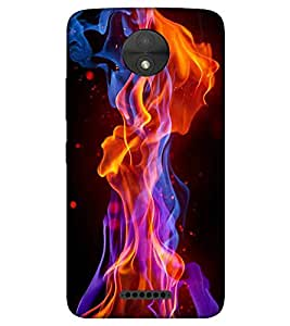 For Motorola Moto C beautiful fire ( beautiful fire, fire, black background, nice fire, smoke ) Printed Designer Back Case Cover By TAKKLOO