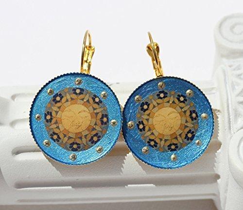 (ISLA DEL SOL Ohrringe 2-106 Sonne Sonnenschein Mandala blau gelb golden Maya Inka Schmuck Brisuren festlich Licht Islas de la Luz)