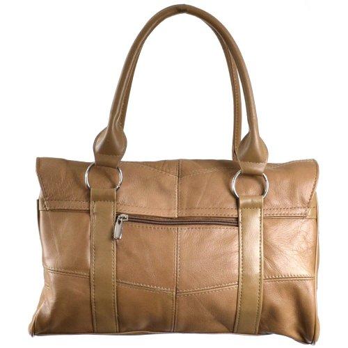 Damenschultertasche, -handtasche Leder mit Taschenklappe und Magnetverschluß (Schwarz / Dunkelbraun / Dunkelbeige / Hellbraun) Dunkelbeige
