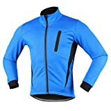 iCREAT Herren Jacket Air Jacket Winddichte Wasserdichte MTB Mountainbike Jacket Visible reflektierend, Fleece Warm Jacket, Schwarz
