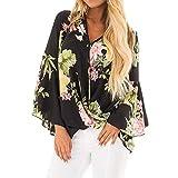 GJKK Bluse Damen Herbst Shirts V-Ausschnitt Blumendruck Tops Langarm Rüschen Unregelmäßige Casual Hemd Tunika