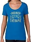 Jardinier est ma thérapie - T-Shirt à Col Rond Profond Pour Femme - Bleu Royale - XL