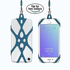 Rocontrip Custodia Telefono Imbracatura A Mano Libera Supporto Cordino per iPhone 6 6S 6 Plus iPhone 6S Plus, iPhone 7 and 7 Plus, Samsung, 4.7-5.5 pollici, Silicone (blu marino)