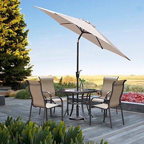 Grand Patio Gartenschirm mit Dreh-Kipp-Mechanismus Kurbelschirm Sonnenschutz UV-Schutz Sonnenschirm Ø 270CM, Rund, Beige (Aluminium-patio-möbel-kissen)