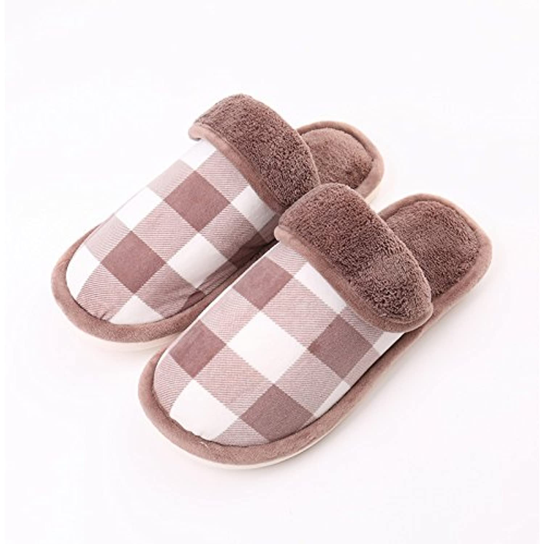 LaxBa Mesdames Accueil Parole de chaussons chaussons de moelleux agréable Cotton-Padded ShoesMarron  3839 semelle - B078KKH5KN - 5439fd