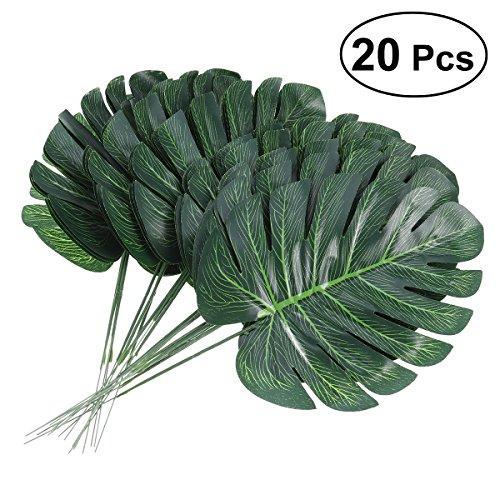 Tinksky Hojas de palmera tropical Flores de simulación de hojas artificiales Plantas artificiales Hojas de Monstera falsas Decoración del hogar, Paquete de 20
