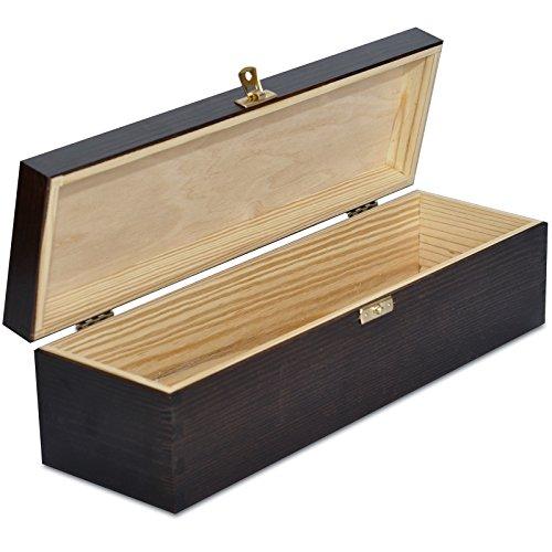 Creative Deco Weinkiste Holz Braun Weinbox | für 1 Flasche | 35,1 x 11 x 10 cm | Holzkiste Holzbox mit Deckel Geschenke | Natürliches Kiefernholz | Perfekte für Decoupage, Lagerung, Dekoration -
