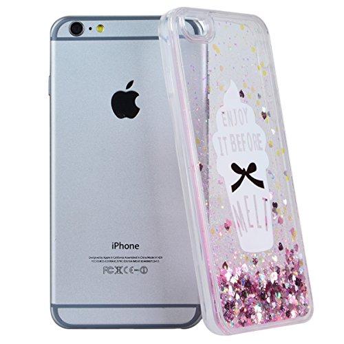 Coque iPhone 6S Liquide Sables Mouvants , We Love Case Bling Glitter Cœur Paillettes Rose Coque pour Apple iPhone 6 / 6S Etui Bumper Dynamique Eau Coque en Plastique Dur Étui de Protection Sparkle Bri Liquide 03