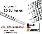 livindo.pro© - 10 Stück (5 Satz) Schubladenschienen mit Schraubenset Teilauszug Rollenauszug Teleskopschiene Kugelführung Nut 17x10mm - Länge 438 mm