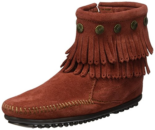 Minnetonka - Double Fringe Side Zip Boot, Stivali Mocassino da donna Brandy Suede