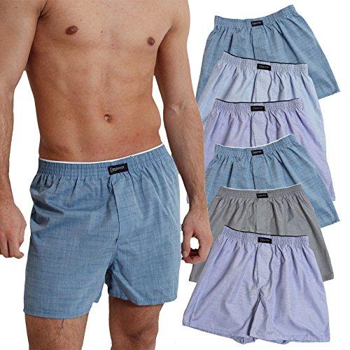 6er Pack BRUBAKER Herren Boxershorts mit Eingriff Materialmix mit Baumwolle bügelleicht Uni Petrol, Blau- und Grautöne
