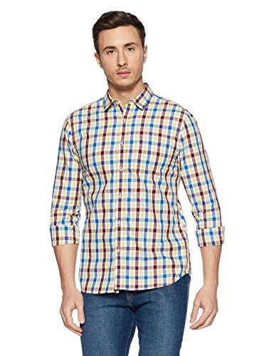 Amazon Brand- Symbol Men's Checkered Regular Fit Casual Shirt (SS18-SMCS-108_Red_Large)