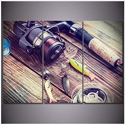 Moderno HD Impreso Arte de la Pared Lienzo FotosPolea Caña de PescarPinturas dePescadoPosters Decoración para el hogar 40X80 Cmx3 Unids Sin Marco Decoración de la Pared
