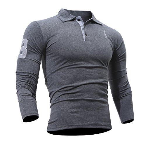 WSLCN Herren Langarm Polo Shirt Slim Fit Grau