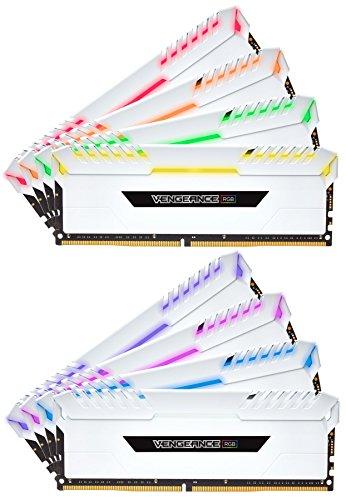Corsair Vengeance RGB Kit di Memoria Illuminato RGB LED Entusiasta 128 GB (8x16 GB), DDR4 3000 MHz, C16 XMP 2.0, Bianco