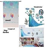 Unbekannt Set _ Wandsticker & Vorhang / FERTIG - Gardine aus Chiffon -  Disney die Eiskönigin - Frozen  - incl. Name - transparent Organza / Voile - Tattoo - selbstkl..