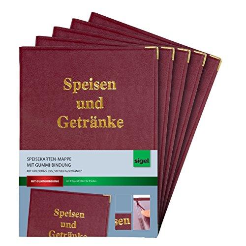 Sigel SM102 Speisekarten-Mappen für A4, mit Gummi-Bindung, bordeauxrot, 5er Pack - weitere Ausführungen