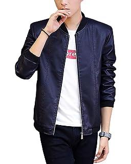 69f57668c67a PU Cuir Punk Vintage Jacket Moto Hommes Rétro Biker Blouson Décontractée  Fermeture Eclair Slim Fit Veste