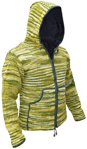 Little Kathmandu Herren Hippie Tie Dye Wolle Handgestrickt Fleece Gefüttert Festival Jacke green tie dye