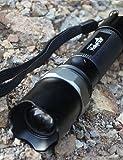 ZQ holyfire Light LED-Taschenlampe Outdoor Camping Taschenlampe zu Zoom Fernbedienung Bestrahlung tragbar Searchlight Radfahren Lampe black-x