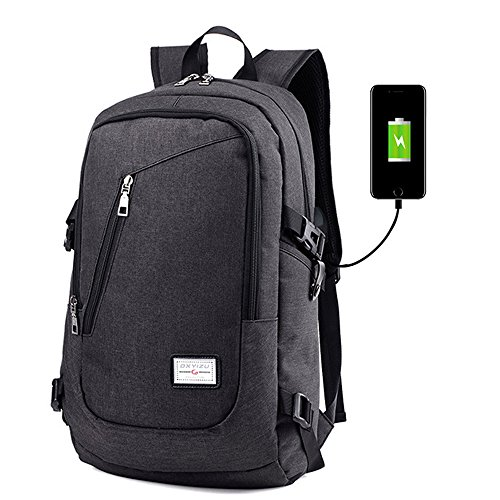 "Mochila de carga USB para portátiles de hasta 15.6"", iCasso Anti-robo Travel school Laptop Backpack, viajar al aire libre Impermeable transpirable Unisex Casual Bag Para Laptop 15,6"" ,Gris Negro"
