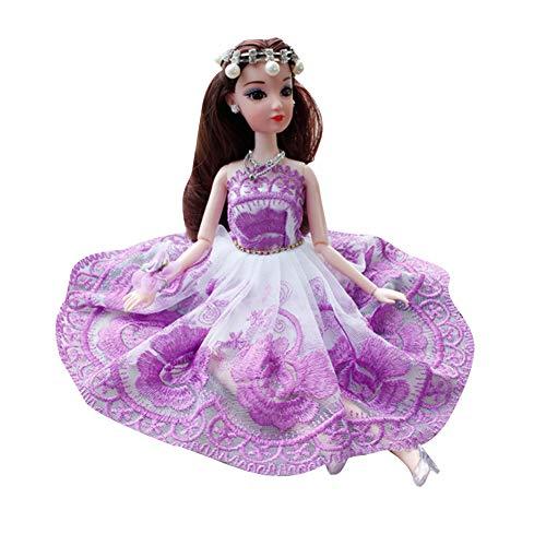 Newin Star Puppen Brautkleid Party Kleid Prinzessin Kleider Party Ausstattung für Mode Puppe, Violett