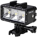 Koolertron Dimmable LED Vidéo Lampe Étanche Lumière de Plongée Sous-marine avec Li-ion Batterie Intégrée pour Gopro Hero 4/3+/3/2/SJCAM SJ4000/SJ5000/Xiaomi