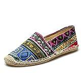 MSKAY Unisex Espadrilles für Herren, Leinen Sole Casual Travel Schuhe für Paare Chinesischer Stil Ethnische Minderheit Kostüm Segeltuchschuhe, Yellow, 40