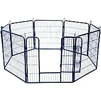 Jalano Welpenauslauf Welpengitter Laufstall für Hunde Katzen Hasen Zaun 8-teilig, Höhe:120 cm