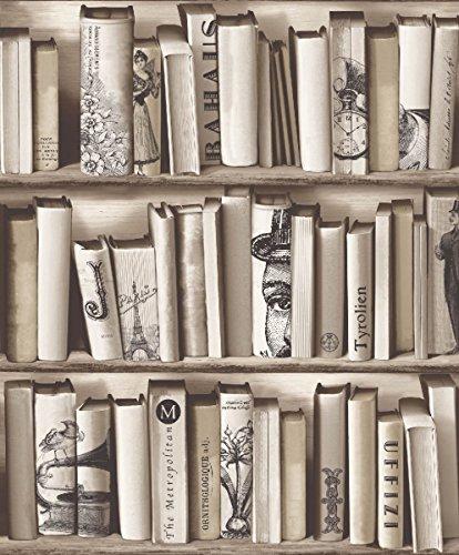 UGEPA Vliestapete Bücherregal, Beige, E82208 (Antike Französische Bücherregal)