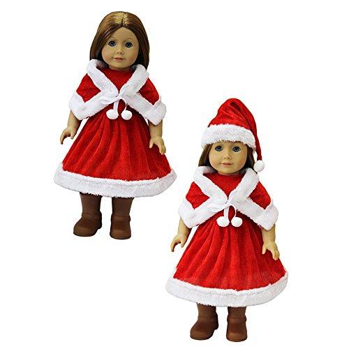 ZITA ELEMENT Santa Party Kleid Geschenk Kostüme Gewand Kleid + Hut passte für 18 Zoll American Girl 45-46 cm Götz Puppe Kleidung für Weihnachten (Kostüme Girl Danger)