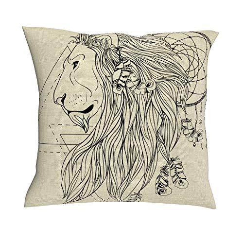 QVOOD - Funda de cojín con diseño de atrapasueños, diseño de león, Blanco, 45 x 45 cm
