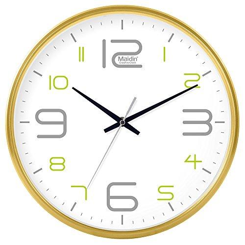 DIDADI Wall Clock Schautafel Schlafzimmer Wohnzimmer Hörraum Wanduhr Herr Ding hinter dem Kalender Uhr - Ching-stein Batterie Uhren runden-Jong-Mann, 10 Zoll, die normale Version 543 Gold